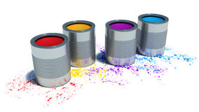 Buckets of paint and spray on white background Stock Photography