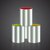 Buckets of paint: yellow, red, green Stock Photos