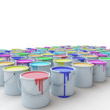 Buckets of paints. Buckets of different paints on a white background Royalty Free Stock Image