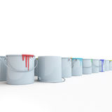 Buckets with paints. On a white background Stock Photo