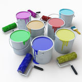 Buckets with paints3 Royalty Free Stock Images
