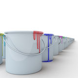 Buckets with paints3. Buckets with paints on a white background Stock Photo