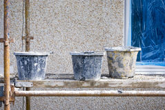 Buckets on scaffold Stock Photography