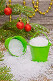 Buckets with snow Royalty Free Stock Photography