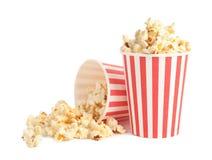 Buckets of tasty pop corn isolated