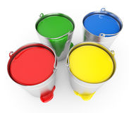 Buckets With A Paint Stock Photos