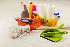 Free Buckets With Sponges, Chemicals Bottles And Mopping Stick. Royalty Free Stock Photo - 110857115
