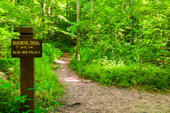Buckeye Trail marker. A trail marker for the cross-Ohio Buckeye trail as it winds through Cuyahoga Valley National Park south of Cleveland Stock Photography