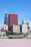 buckingham芝加哥街市喷泉 免版税图库摄影