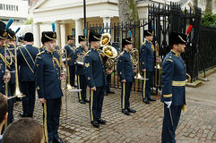 Buckingham Band. Picture of Buckingham Band belonging to Royal Air Force about to march to attend the changing of the guards Stock Photo