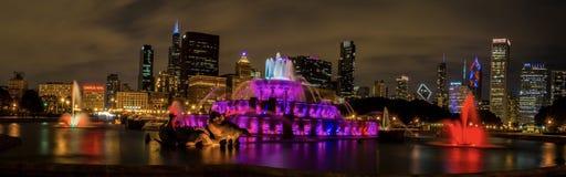 Buckingham fountain in Downtown Chicago stock photos