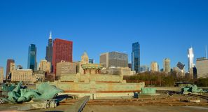 Buckingham Fountain Drained. This is a pictue of the world renown Buckingham Fountain in Chicagi, Illinois drained and prepared for winter.  The background Stock Photos