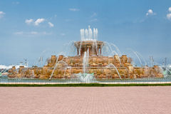 Buckingham Fountain Grant Park Chicago. The orange Buckingham Fountain at Grant Park, downtown Chicago, Illinois, United States Royalty Free Stock Photos