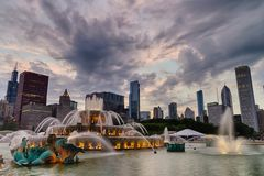 Buckingham fountain in Grant Park, Chicago Royalty Free Stock Images