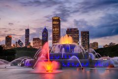 Buckingham fountain in Grant Park, Chicago. USA royalty free stock images