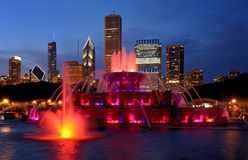 Buckingham Fountain at night Royalty Free Stock Images