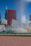 Buckingham Fountain with Rainbow Stock Photos