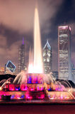 Buckingham Fountain and urban city skyline Stock Image