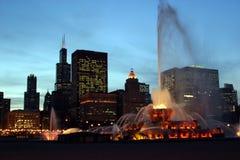 Buckingham Memorial Fountain. In Grant Park, Chicago at Night Stock Photo