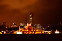 Buckingham Memorial Fountain. In Grant Park, Chicago at Night Royalty Free Stock Photos
