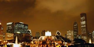 Buckingham Memorial Fountain. In Grant Park, Chicago at Night Stock Image