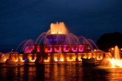Buckingham Memoriam Fountain of Chicago. Buckingham Fountain is the largest fountain in the world. dedicated by Kate Buckingham to her late brother, Clarence. It royalty free stock photos