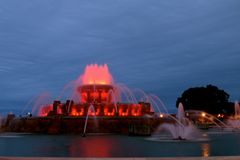 Buckingham Memoriam Fountain of Chicago. Buckingham Fountain is the largest fountain in the world. dedicated by Kate Buckingham to her late brother, Clarence. It royalty free stock image