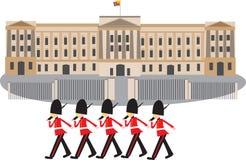Buckingham Palace με τις φρουρές στοκ εικόνες