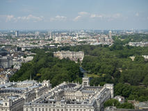 Buckingham Palace aerial view. Buckingham Palace and St. James park view from the London eye. Buckingham Palace is the London residence and administrative Stock Photography