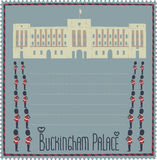 Buckingham palace. Cartoon image of the palace and the royal guards Royalty Free Stock Photo