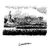 Buckingham Palace en Victoria Memorial, Londen, Engeland, het UK Stock Illustratie