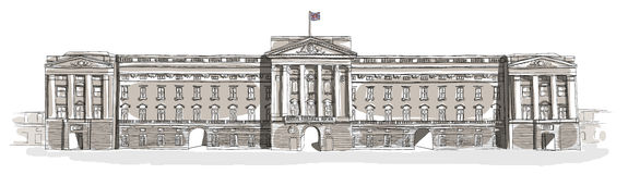 Buckingham Palace line art Stock Image