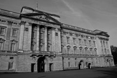 Buckingham Palace, London, England. Buckingham Palace in the early morning black and white Royalty Free Stock Photos