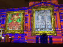 Buckingham Palace projection of portraits Royalty Free Stock Photo