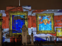 Buckingham Palace projection of portraits Royalty Free Stock Images
