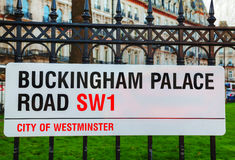 Buckingham Palace Road sign in city of Westminster Stock Photo