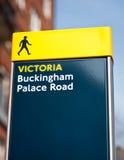 Buckingham palace road sign in London. UK Royalty Free Stock Photos