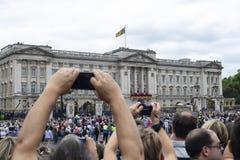 Buckingham Palace at Royal Air Force Centenary. London, United Kingdom - July 10, 2018: View of the Royal Family at Buckingham Palace for the Royal Air Force Royalty Free Stock Photos