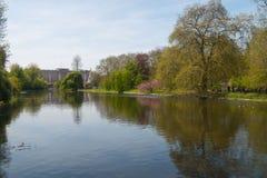 Buckingham Palace from St James's Park, London royalty free stock photo