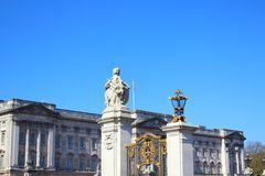 Buckingham palace in london. Buckingham palace under the sun with blue sky Stock Images