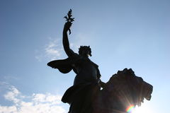 Buckingham Palace Victory Statue. In clear blue sky Stock Photos