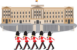 Buckingham Palace z strażnikami Zdjęcie Stock