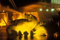 Buckingham springbrunn i Grant Park på natten, Chicago, Illinois Fotografering för Bildbyråer