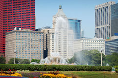 Buckingham springbrunn i stadens centrum Chicago på en sommardag Arkivbild