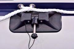 Buckla och sele av det rubber fartyget Arkivfoton