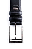 Buckle of black leather belt Stock Photography