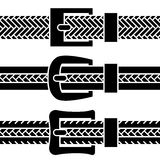 Buckle braided belt black symbols Royalty Free Stock Photos