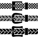 Buckle braided belt black symbols Stock Photo