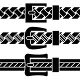 Buckle braided belt black symbols Royalty Free Stock Images