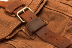 Buckle on the brown bag Stock Images